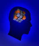 Head with cube. Blue male head with abstract cube Royalty Free Stock Photography