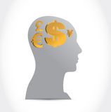 Head and currency concept illustration design Royalty Free Stock Photography