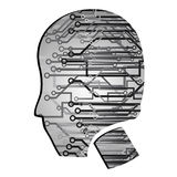 Head cyberpunk. Human head with many technological connections Stock Photo