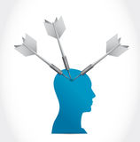 Head and darts illustration design Stock Images