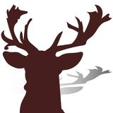 Head of a deer close-up, brown silhouette on a white background,. Vector Royalty Free Stock Photo