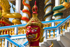 Head of Demon guardian statue at Wat Etisukatow temple royalty free stock photos