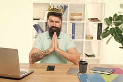 Head of department. Man bearded manager businessman entrepreneur wear golden crown. Top manager head office. Confident stock image