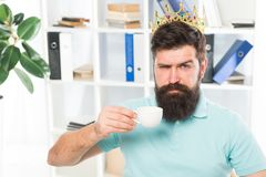 Head of department. Head office concept. Man bearded manager businessman entrepreneur wear golden crown on head. Relaxed stock image