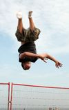 Head down trampolining Royalty Free Stock Photo