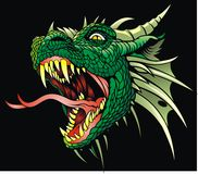 Head of dragon. On the black background Royalty Free Stock Photos