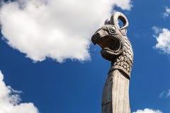 Head of a dragon on the front of the Viking ship Drakkar Stock Photos