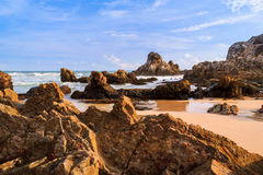 Head of the dragon. Golden time in malingping beach Royalty Free Stock Image