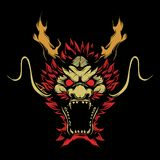Head dragon hand drawing vector royalty free illustration