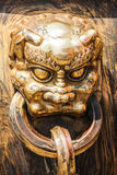Head of dragon handle in ancient chinese palace Royalty Free Stock Photo