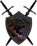 Head Dragon - vector logo icon illustration mascot stock photo