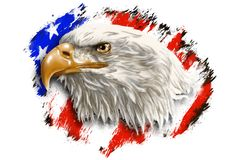The head of an eagle on a background of an abstract flag of the USA. An image of a bald eagle head, as a symbol of the United States of America. Made in the stock illustration