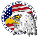 Head of eagle with banner. Bald of eagle with circle icon with USA flag Royalty Free Stock Images