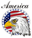 Head of eagle with banner and word. Bald of eagle with circle icon with USA flag and black word America Stock Images