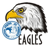 Head of eagle with different signs Royalty Free Stock Images