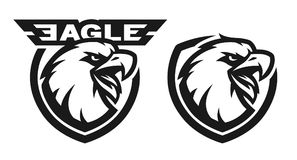 Head of the eagle, monochrome logo. Two versions stock illustration