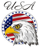 Head of eagle with signs. Bald of eagle with word USA and circle icon with American flag Stock Photography