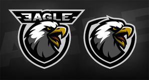 Head of the eagle, sport logo. Two versions on a dark background royalty free illustration