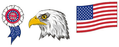 Head of eagle with two signs of USA Royalty Free Stock Photos