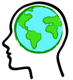 Head and earth globe. A vector illustration of a stylized head with a earth globe inside it Royalty Free Stock Images