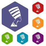 The head of the Egyptian queen icons set hexagon. Isolated vector illustration Stock Image
