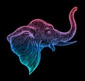 Head of elephant in profile line art boho design. Illustration of Indian God Ganesha. Vector Royalty Free Stock Images