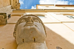 Head of emperor Constantine the Great in Rome. Head of emperor Constantine the Great, fragment of giant sculpture, Capitoline, Rome, Italy Royalty Free Stock Image