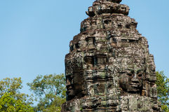 Head encarved in stone Bayon temple angkor stock image