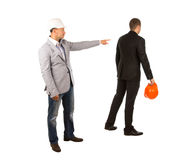 Head Engineer Pointing His Subordinate Engineer Stock Images