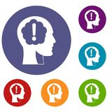 Head with exclamation mark inside icons set Royalty Free Stock Image