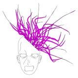 Head exploits. Head screaming as he exploits the brain Stock Photo