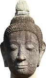 Head and face of ancient stone grey buddha statue isolated on white background, art sculpture Royalty Free Stock Images