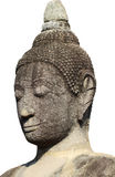 Head and face of ancient stone grey buddha statue isolated on white background, art sculpture Royalty Free Stock Image