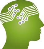 Head, face and board, head and robot logo. Head, face and board, head logo, robot logo, android logo, machine logo, technology logo, people logo stock illustration