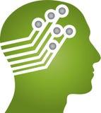 Head, face and board, head and robot logo. Head, face and board, head logo, robot logo, android logo, machine logo, technology logo, people logo royalty free illustration