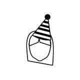 Head face girl party hat outline Royalty Free Stock Image