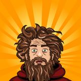 Head and face an untidy man. Homeless with a beard. Comic book style imitation. Vintage retro style. Conceptual illustration Stock Image