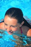 Head and facial shot of girl while in pool Stock Images