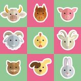 Head of farm animals. Colored vector icons Stock Image
