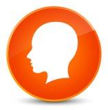 Head female face icon elegant orange round button Stock Image
