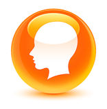 Head female face icon glassy orange round button Royalty Free Stock Photography