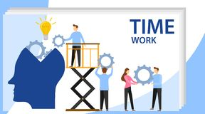 Head filled of ideas and creative, analytics, replacing old with new. Creative teamwork. People are building a business. Project on the Internet. Persons is royalty free illustration