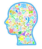 Head filled with various thematic symbols stock image