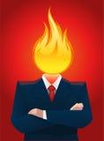 Head on fire. Burnt businessman head on fire  illustration Stock Images