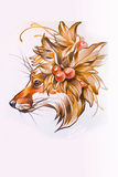 Head of a Fox drawn in pencil on paper Stock Images