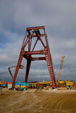 Head frame coal mine under construction Royalty Free Stock Photography