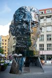 Head of Franz Kafka. PRAGUE, CZECH REPUBLIC - August 2, 2018: Revolving statue of the head of Franz Kafka in Prague. Modern statue of the famous writer royalty free stock photo
