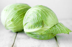 Head of fresh cabbage. Royalty Free Stock Photos