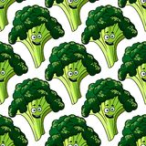 Head of fresh healthy broccoli seamless pattern Royalty Free Stock Images