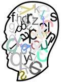 Head full of letters vector illustration